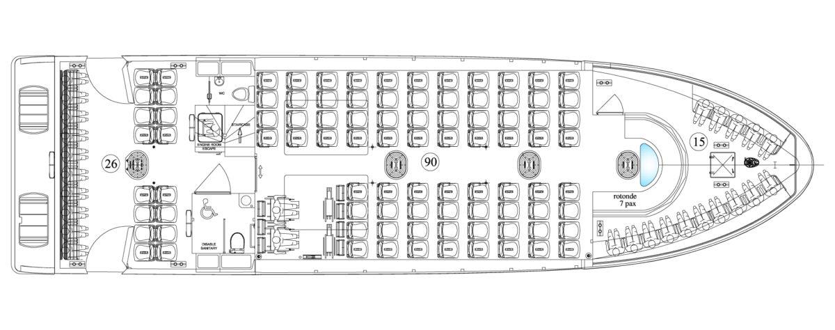 Vedette Passagers 20m 164 places - plan de pont