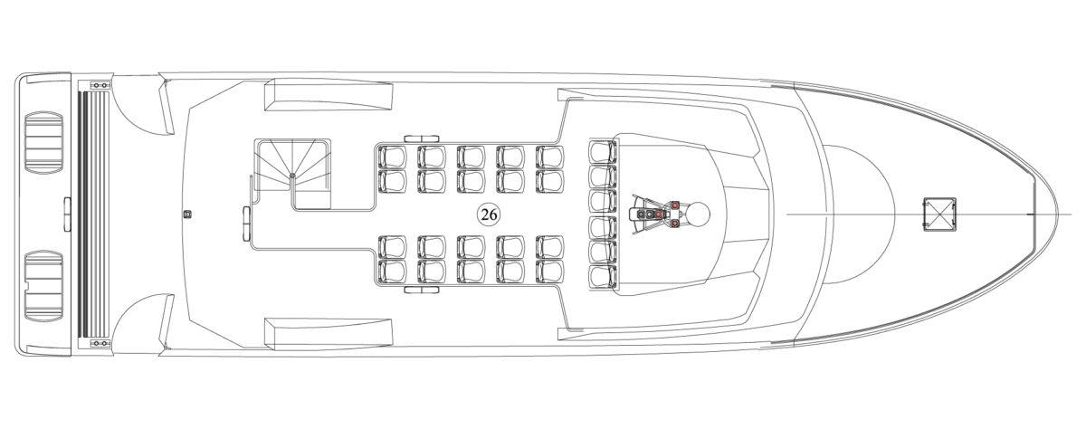 Vedette Passagers 20m 164 places - pont supérieur